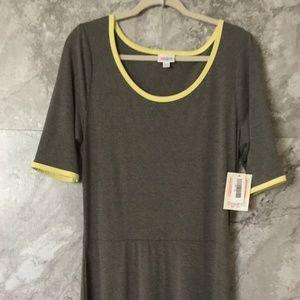 LULAROE 2XL Ana Dress Gray Yellow Maxi Dress